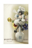 Girl Seated on a Vase Smoking and Playing the Cymbals Giclee Print