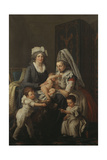 Portrait of a Lady, in an Interior with Her Nurse and Three Children Giclee Print by Anicet-Charles Lemonnier