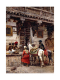 Craftsman Selling Cases by a Teak-Wood Building, Ahmedabad, C.1885 Giclee Print by Edwin Lord Weeks