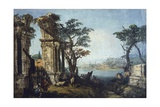 Capriccio with Classical Arch and Goats Giclee Print by Michele Marieschi