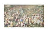 Pisa Attacked by the Florentine Troops, Salone Dei Cinquecento, 1555-72 Giclée-Druck von Giorgio Vasari