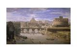 View of Castel Sant'Angelo in Rome Giclee Print by Gaspar van Wittel