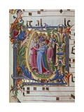 Initial Letter of Choral, Miniature Giclée-tryk af Lorenzo Monaco