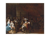 A Guardroom Interior with a Cavalier Conversing with a Mother and Child Giclee Print by Anthonie Palamedesz