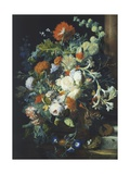 Bouquets of Flowers on a Black Background Giclee Print by Jan van Huysum