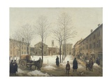 Milan, Piazza Borromeo under Snow Giclee Print by Angelo Inganni