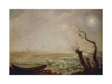 Landscape with Boat Amid the Ice Giclee Print by Carl Gustav Carus