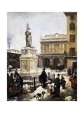 Piazza Della Loggia in the Snow in Brescia, 1879 Giclee Print by Angelo Inganni