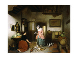 Interior of a Larder with Women Cleaning Game, 1852 Giclee Print by Hubertus van Hove
