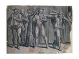 Comedy or Farce of Six Characters, Engraving Giclee Print by Hans Liefrinck