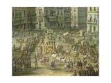 Largo San Ferdinando in Naples During the Carnival Giclée-tryk af Antonio Joli