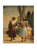 Landscape with Two Country Women Giclée-tryk af Giandomenico Tiepolo