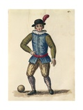 Nobleman Playing Football Giclee Print by Jan van Grevenbroeck