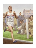 Roger Bannister Running the First Four-Minute Mile Giclee Print by Pat Nicolle