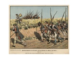 Prussian Musketeers and Grenadiers on the March from Mahren to Kustrin Giclee Print by Carl Rochling