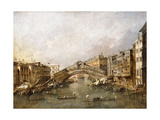 The Rialto Bridge, Venice, with Gondolas in the Foreground Giclee Print by Francesco Guardi