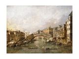 The Rialto Bridge, Venice, with Gondolas in the Foreground Giclee Print by Francesco Guardi