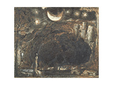 A Shepherd and His Flock under the Moon and Stars, C.1827 Giclee Print by Samuel Palmer