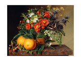 Oranges, Blackberries and a Vase of Flowers on a Ledge, 1834 Giclee Print by Johan Laurents Jensen