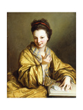 A Young Lady, Wearing a Yellow Robe, Seated at a Table, Beckoning, 1703 Giclee Print by Jean Baptiste Santerre