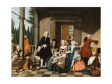 Portrait of a Family Dining on a Portico, a Formal Garden Beyond, 1747 Giclee Print by Jan Josef the Younger Horemans