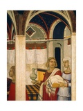 Triptych of Nativity of Virgin Giclee Print by Pietro Lorenzetti