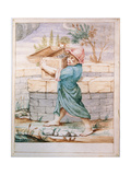 Bertoldino Throws the Treasure Chest Against the Frogs Giclee Print by Giuseppe Maria Crespi