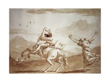 Pulcinella Kidnapped by the Centaur Giclée-tryk af Giandomenico Tiepolo