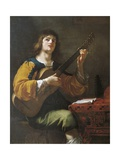 Portrait of the Artist as a Guitarist, 1636 Giclee Print by Jean Daret