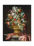 Flowers in a Sculpted Urn on a Draped Stone Pedestal Giclee Print by Andrea The Elder Scacciati
