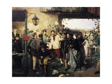News of Peace of Villafranca Giclee Print by Domenico Induno