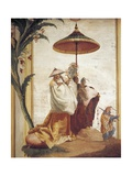 Mandarin's Walk, 1757, Fresco Giclée-tryk af Giandomenico Tiepolo