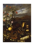 Still Life with Dried Fruit, Flowers and Landscape Giclee Print by Luca Forte