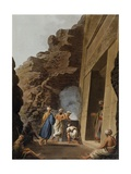 Entrance to Burial Chamber at Sphinx of Giza, Engraving Giclee Print by Luigi Mayer