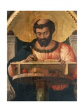 St Luke at His Desk, Detail from Altarpiece of St Luke Giclee Print by Andrea Mantegna