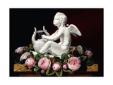 Garland of Pink Roses around Cupid Playing a Lyre on a Marble Ledge, 1841 Giclee Print by Johan Laurents Jensen