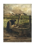 The Washer at the Fountain, 1887 Giclee Print by Giovanni Segantini