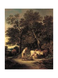 Wooded Landscape with Milkmaid and Woodman, or 'Rural Courtship', C.1792 Giclee Print by Gainsborough Dupont
