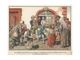 Crown Prince Frederick of Prussia Giving Bread to the Poor Giclee Print by Carl Rochling