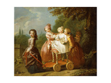 A Young Boy on a Hobbyhorse, with Other Children Playing in a Garden Giclee Print by Philippe Mercier