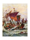 King Alfred's Galleys Attacking the Viking Dragon Ships, 897 Giclee Print by Henry Payne