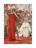 King Edward Looked Down into Queen Philippa's Pleading Eyes Giclee Print by Arthur C. Michael