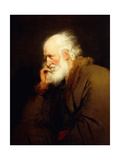 An Old Man, Half-Length, in a Brown Fur-Lined Coat Giclee Print by Joseph Wright
