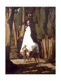 Farmer Riding an Ass and a Herbalist Giclee Print by Luigi Bechi