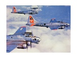 Us Flying Fortress B17 Bombers with Mustang Fighter Escort Giclee Print