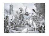 Esmeralda and Quasimodo, Illustration Giclee Print by Eugene Deveria