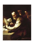 Xanthippe Pouring Water onto Socrates' Neck Giclee Print by Luca Giordano