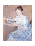 Mrs. Alexander J. Cassat in a Blue Evening Gown Seated at a Tapestry Frame Giclee Print by Mary Stevenson Cassatt