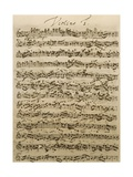 Handwritten Score for Mass in B Minor, BWV 232 Giclee Print by Johann Sebastian Bach