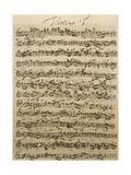 Handwritten Score for Mass in B Minor, BWV 232 Giclee Print by Johann Sebastian Bach